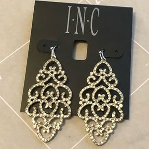 New INC silver and crystals drop earrings